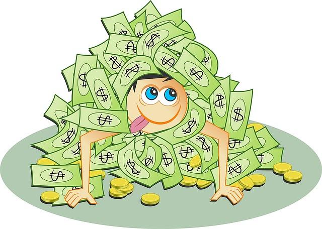 člověk v penězích